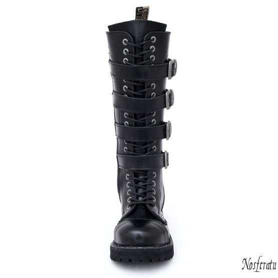 leather boots women's - STEEL