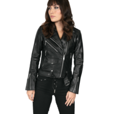Women's leather jacket  STRAIGHT TO HELL - Vegan Commando II, STRAIGHT TO HELL