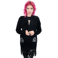 Women's sweater (cardigan) TOO FAST - BAROQUE VICTORIAN GOTHIC PENTAGRAM LONG0FRINGE, TOO FAST