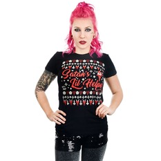 t-shirt gothic and punk women's - SATAN'S LIL HELPER EVIL CHRISTMAS BABYDOLL - TOO FAST, TOO FAST