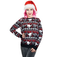 Sweater women's TOO FAST - BLACK CAT & PENTAGRAM XMAS UGLY CHRISTMAS, TOO FAST