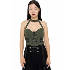 Women's top by KILLSTAR - Night Patrol - KHAKI, KILLSTAR