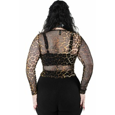 Women's t-shirt with long sleeves KILLSTAR - Overkill Fishnet - LEO, KILLSTAR