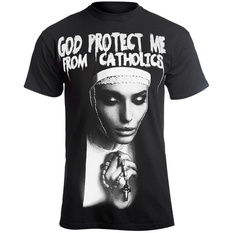 t-shirt hardcore men's - GOD PROTECT ME FROM CATHOLICS - AMENOMEN, AMENOMEN
